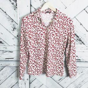 J. McLaughlin splatter print long sleeve top